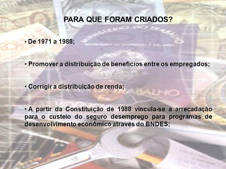 PARA QUE FORAM CRIADOS De 1971 a 1988; Promover a distribuição de benefícios entre os empregados;