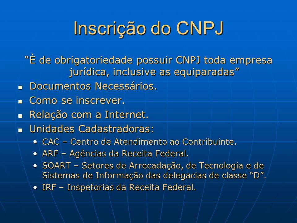 Inscrição do CNPJ È de obrigatoriedade possuir CNPJ toda empresa jurídica, inclusive as equiparadas