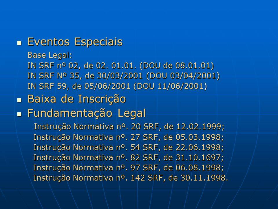 Eventos Especiais Baixa de Inscrição Fundamentação Legal Base Legal: