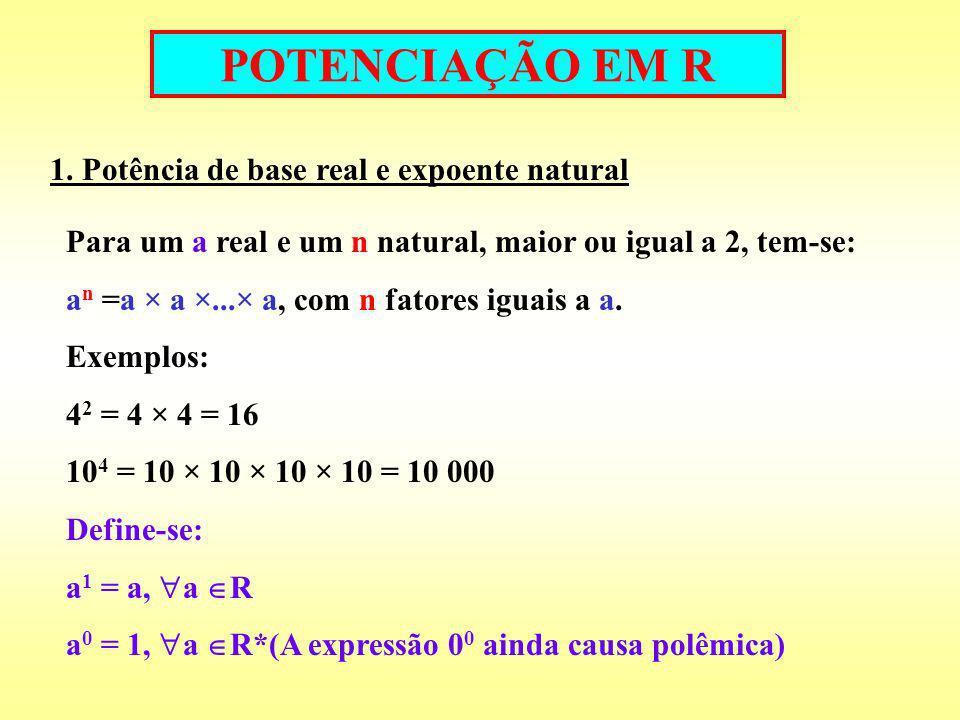 POTENCIAÇÃO EM R 1. Potência de base real e expoente natural