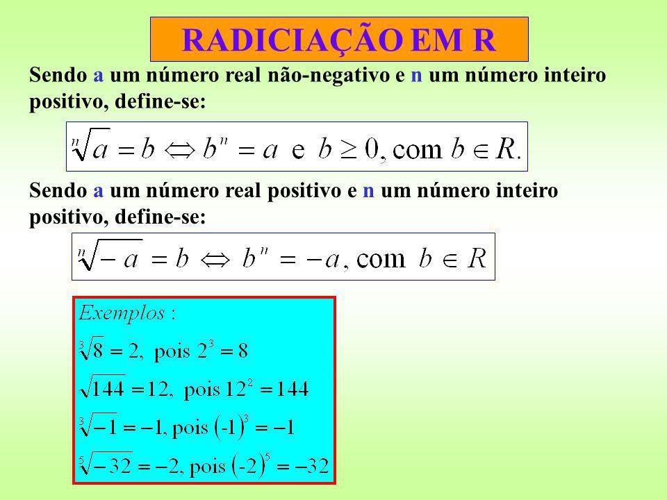 RADICIAÇÃO EM R Sendo a um número real não-negativo e n um número inteiro positivo, define-se: