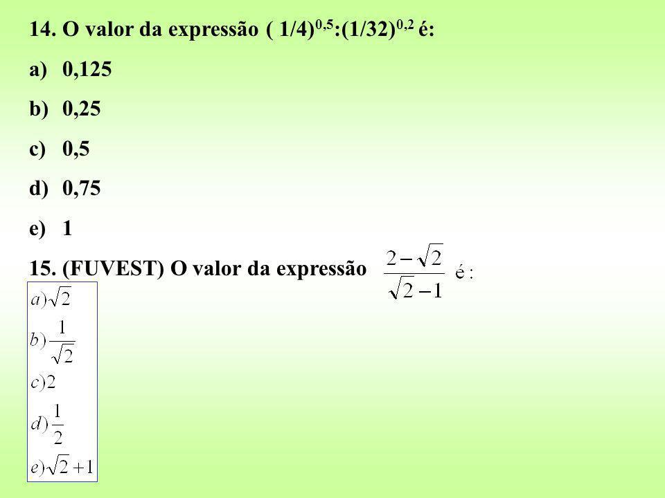 14. O valor da expressão ( 1/4)0,5:(1/32)0,2 é:
