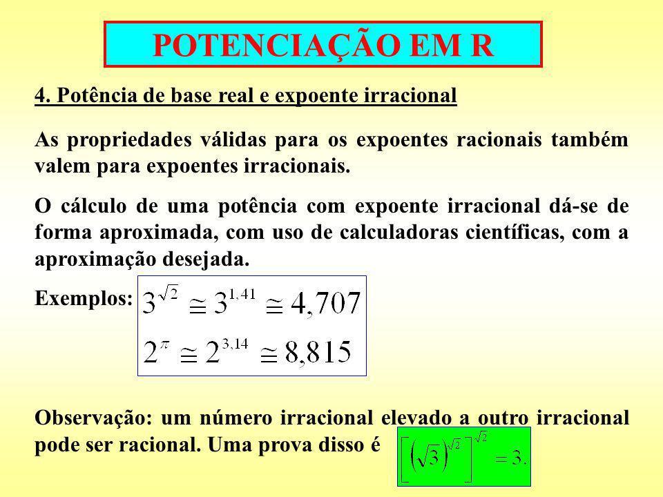 POTENCIAÇÃO EM R 4. Potência de base real e expoente irracional