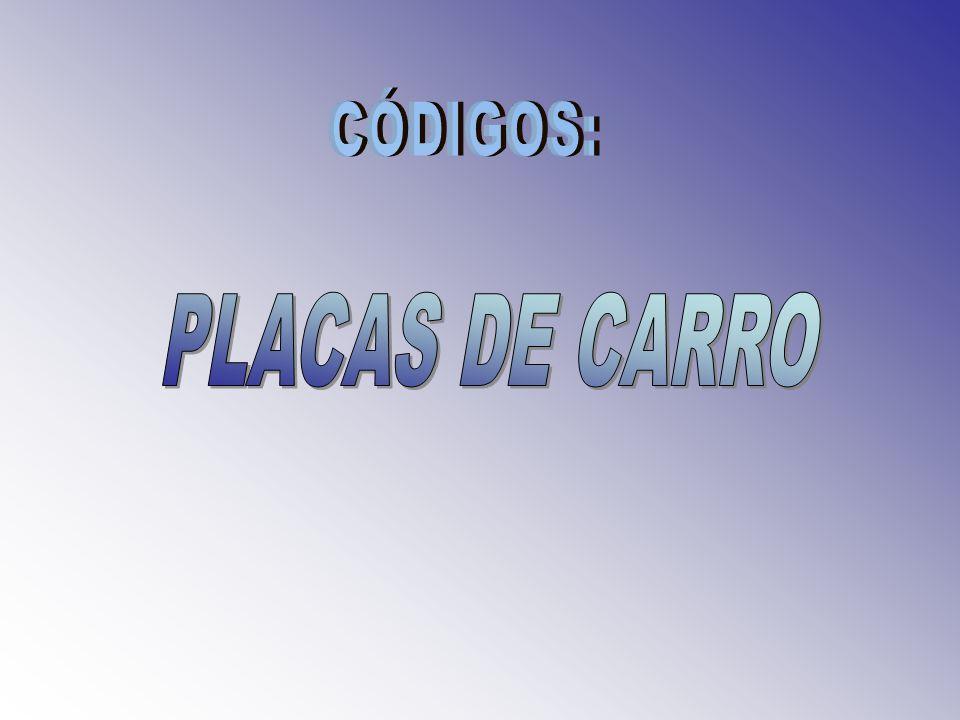 CÓDIGOS: PLACAS DE CARRO