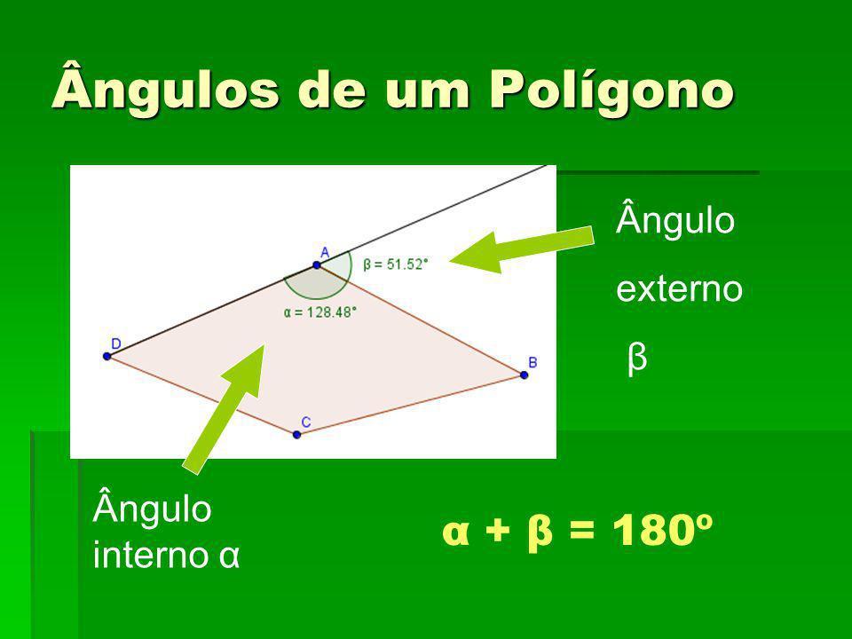 Ângulos de um Polígono Ângulo externo β Ângulo interno α α + β = 180º