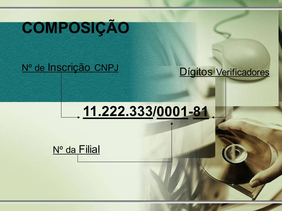 COMPOSIÇÃO 11.222.333 /0001 -81 Dígitos Verificadores