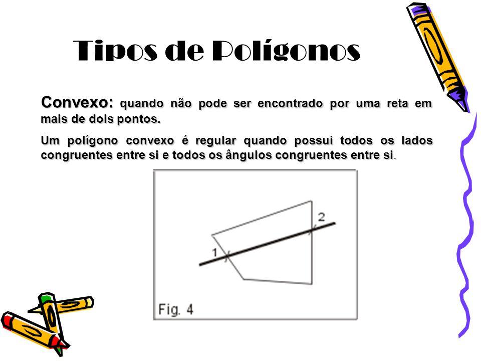 Tipos de Polígonos Convexo: quando não pode ser encontrado por uma reta em mais de dois pontos.
