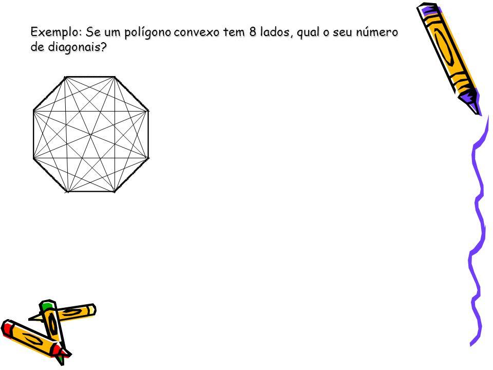 Exemplo: Se um polígono convexo tem 8 lados, qual o seu número de diagonais