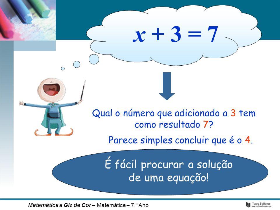 x + 3 = 7 É fácil procurar a solução de uma equação!
