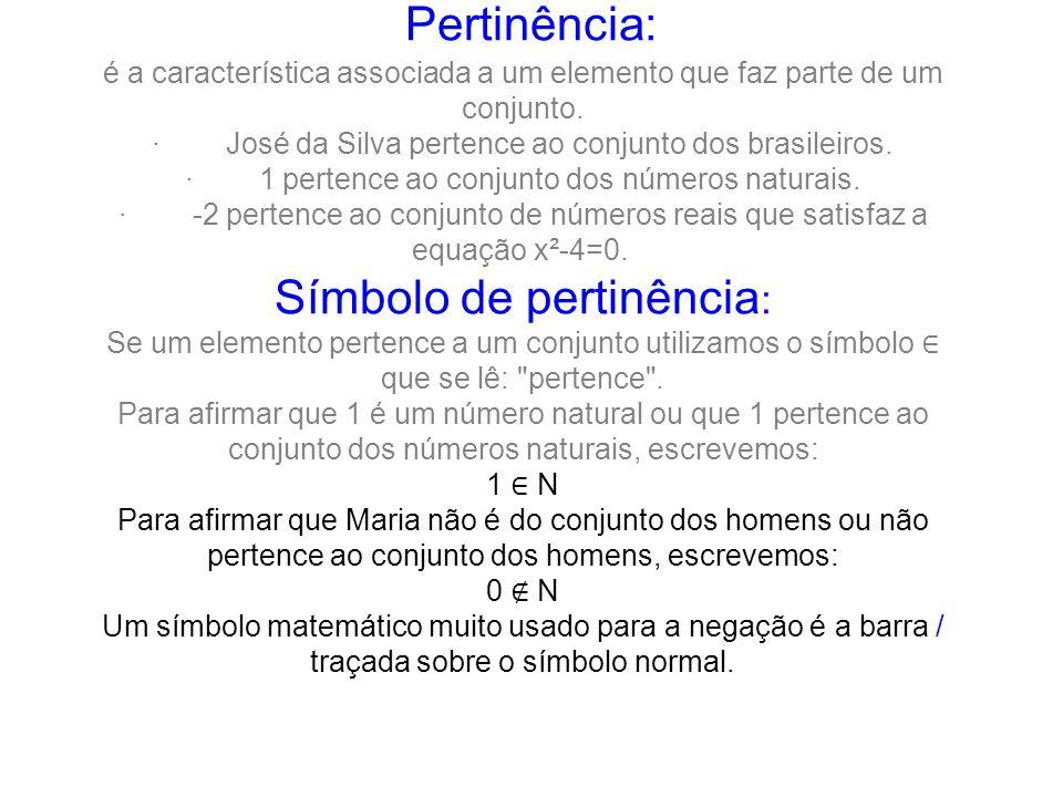 Pertinência: é a característica associada a um elemento que faz parte de um conjunto.