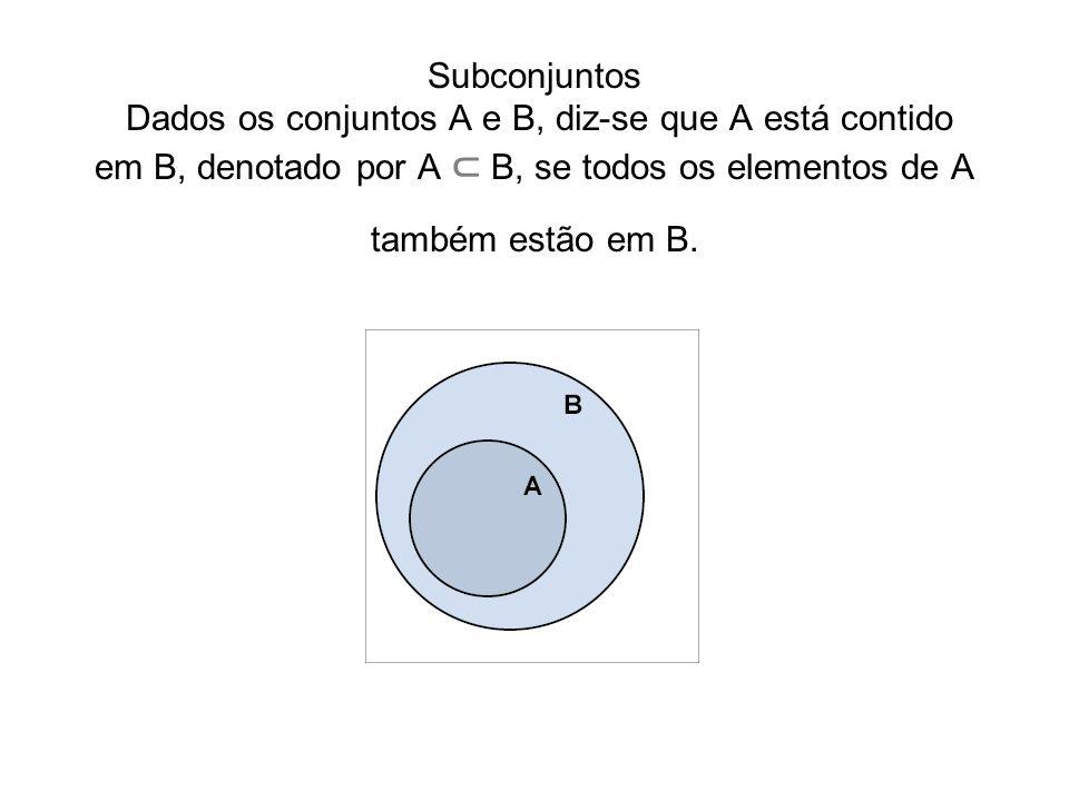 Subconjuntos Subconjuntos Dados os conjuntos A e B, diz-se que A está contido em B, denotado por A ⊂ B, se todos os elementos de A também estão em B.