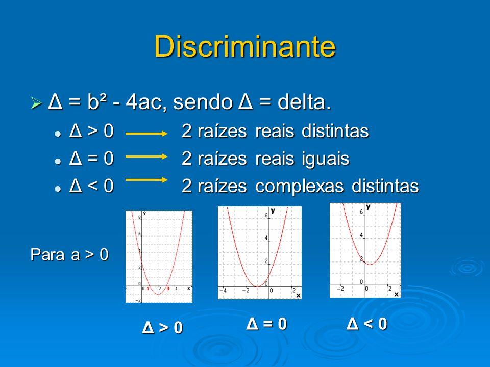 Discriminante Δ = b² - 4ac, sendo Δ = delta.