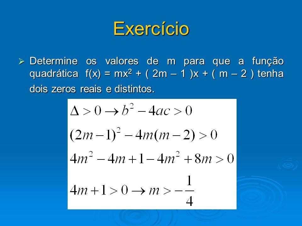 Exercício Determine os valores de m para que a função quadrática f(x) = mx2 + ( 2m – 1 )x + ( m – 2 ) tenha dois zeros reais e distintos.