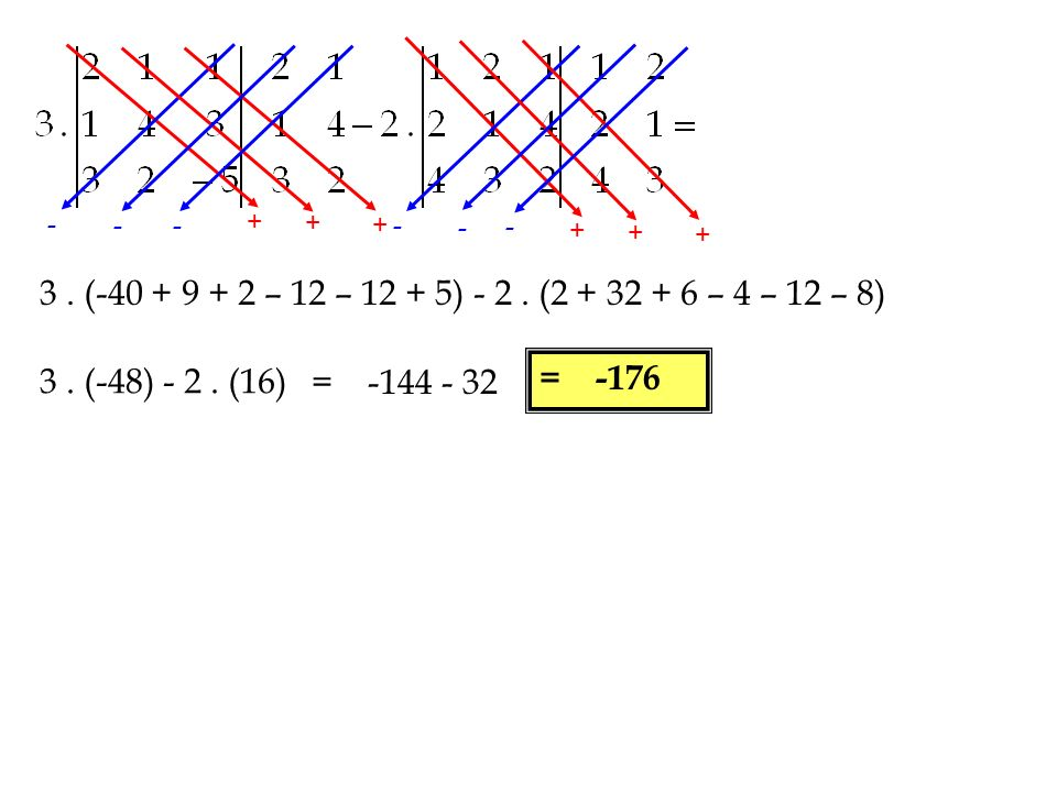 - - - + + + - - - + + + 3 . (-40 + 9 + 2 – 12 – 12 + 5) - 2 . (2 + 32 + 6 – 4 – 12 – 8) 3 . (-48) - 2 . (16)