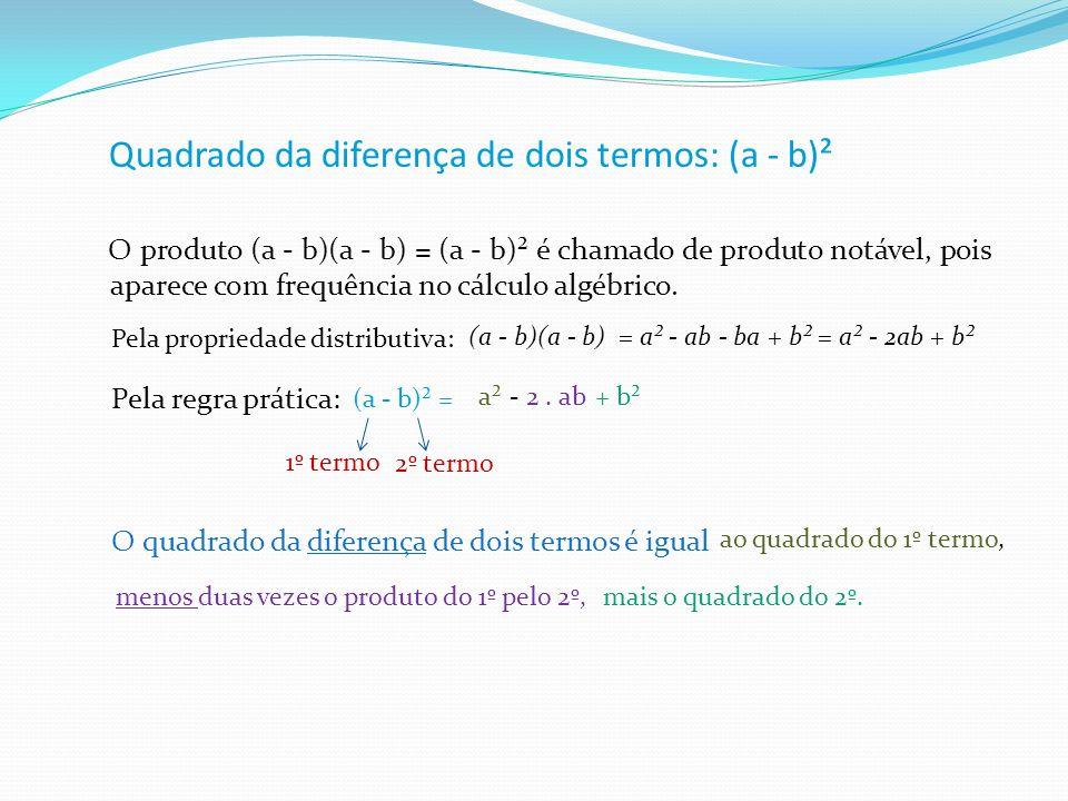 Quadrado da diferença de dois termos: (a - b)²