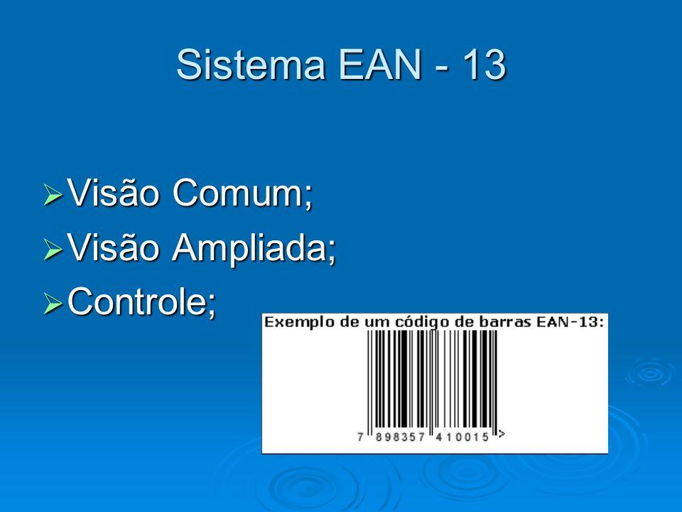 Sistema EAN - 13 Visão Comum; Visão Ampliada; Controle;