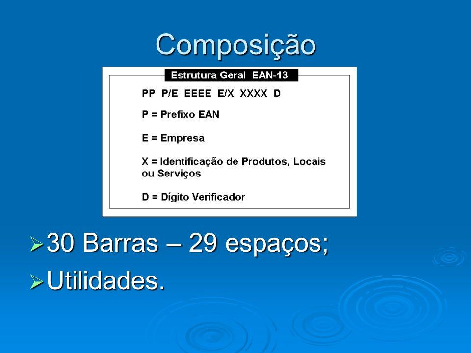 Composição 30 Barras – 29 espaços; Utilidades.
