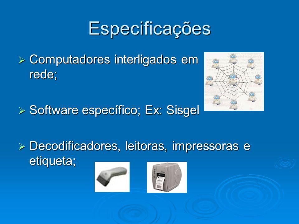 Especificações Computadores interligados em rede;