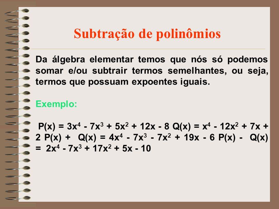 Subtração de polinômios