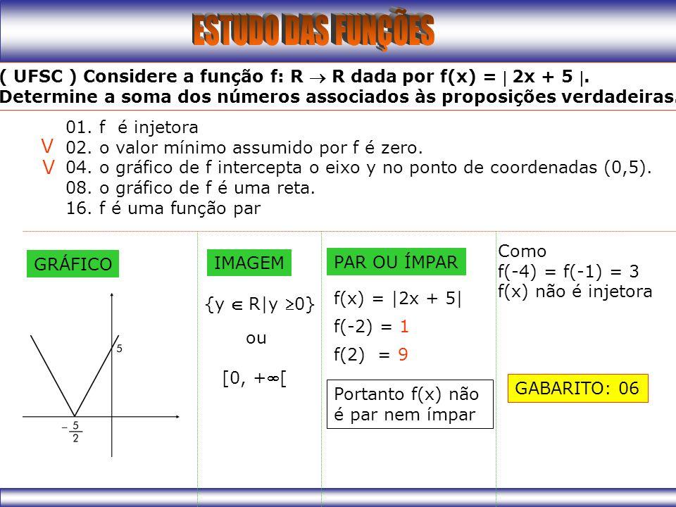 V V ( UFSC ) Considere a função f: R  R dada por f(x) =  2x + 5 .