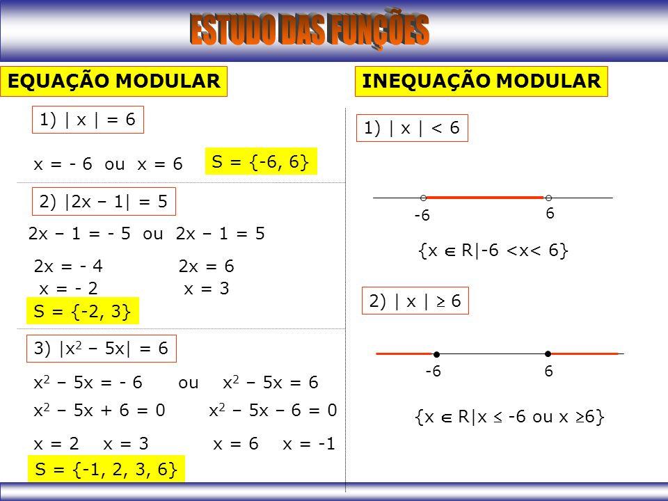 EQUAÇÃO MODULAR INEQUAÇÃO MODULAR 1) | x | = 6 1) | x | < 6