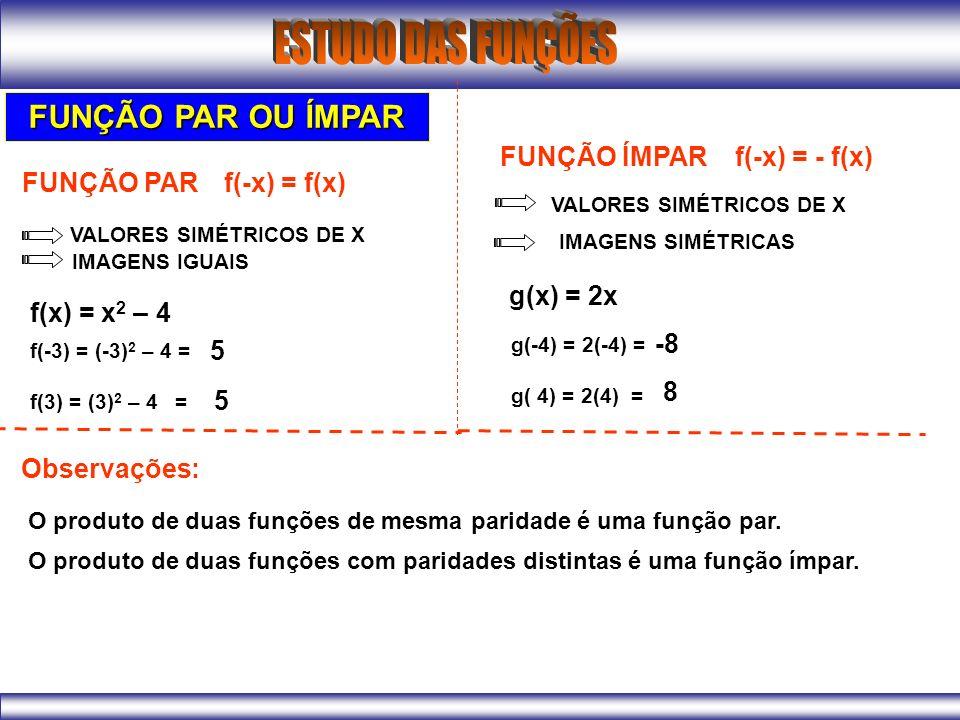 FUNÇÃO PAR OU ÍMPAR FUNÇÃO ÍMPAR f(-x) = - f(x) FUNÇÃO PAR