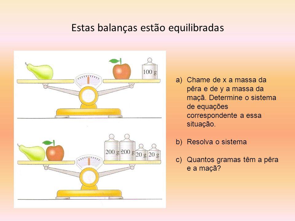 Estas balanças estão equilibradas