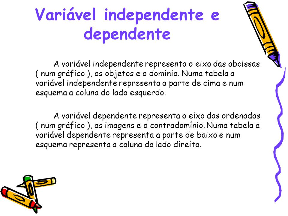 Variável independente e dependente