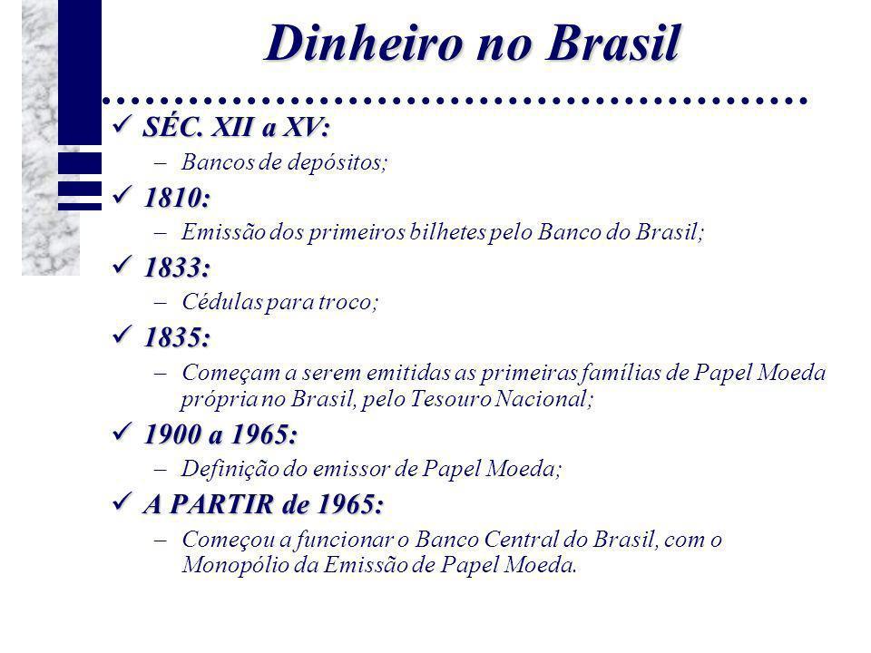 Dinheiro no Brasil SÉC. XII a XV: 1810: 1833: 1835: 1900 a 1965: