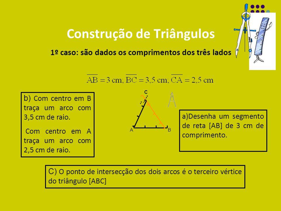 Construção de Triângulos 1º caso: são dados os comprimentos dos três lados
