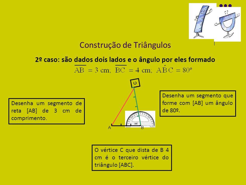 Construção de Triângulos 2º caso: são dados dois lados e o ângulo por eles formado