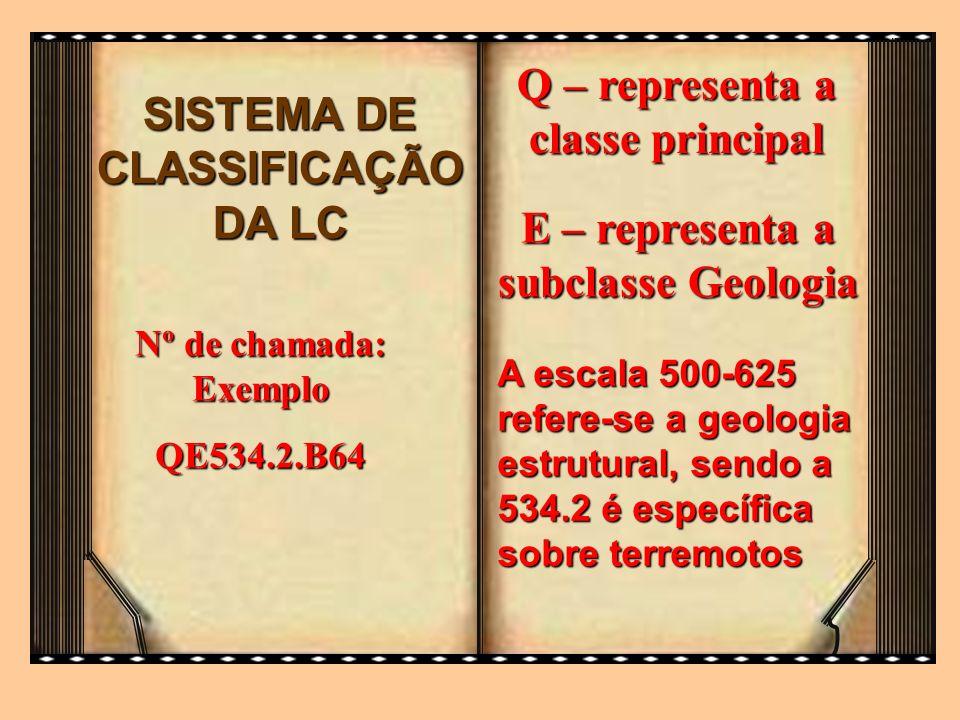 Q – representa a classe principal SISTEMA DE CLASSIFICAÇÃO DA LC