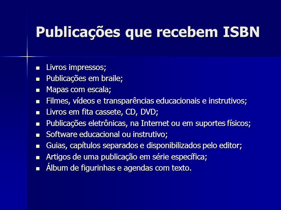 Publicações que recebem ISBN