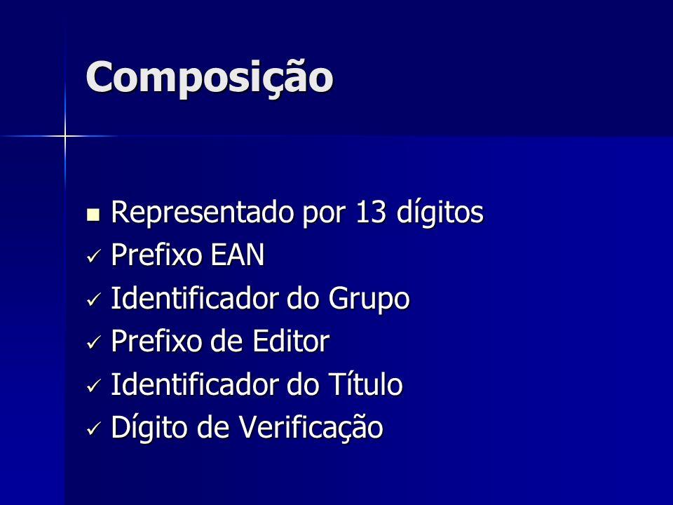 Composição Representado por 13 dígitos Prefixo EAN