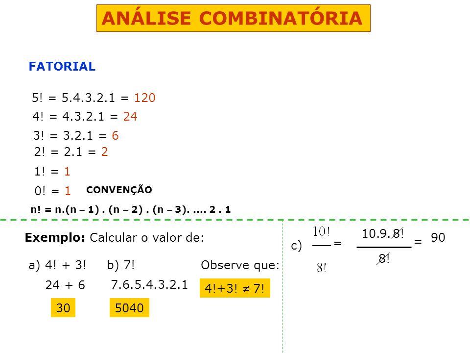 ANÁLISE COMBINATÓRIA FATORIAL 5! = 5.4.3.2.1 = 120 4! = 4.3.2.1 = 24