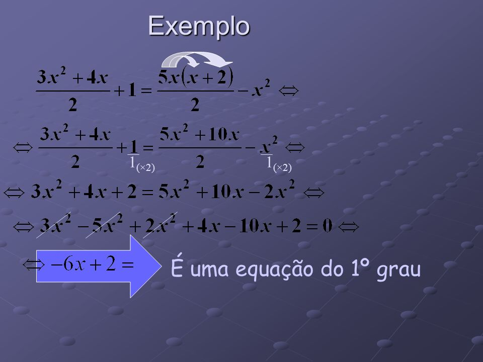 Exemplo 1(×2) 1(×2) É uma equação do 1º grau