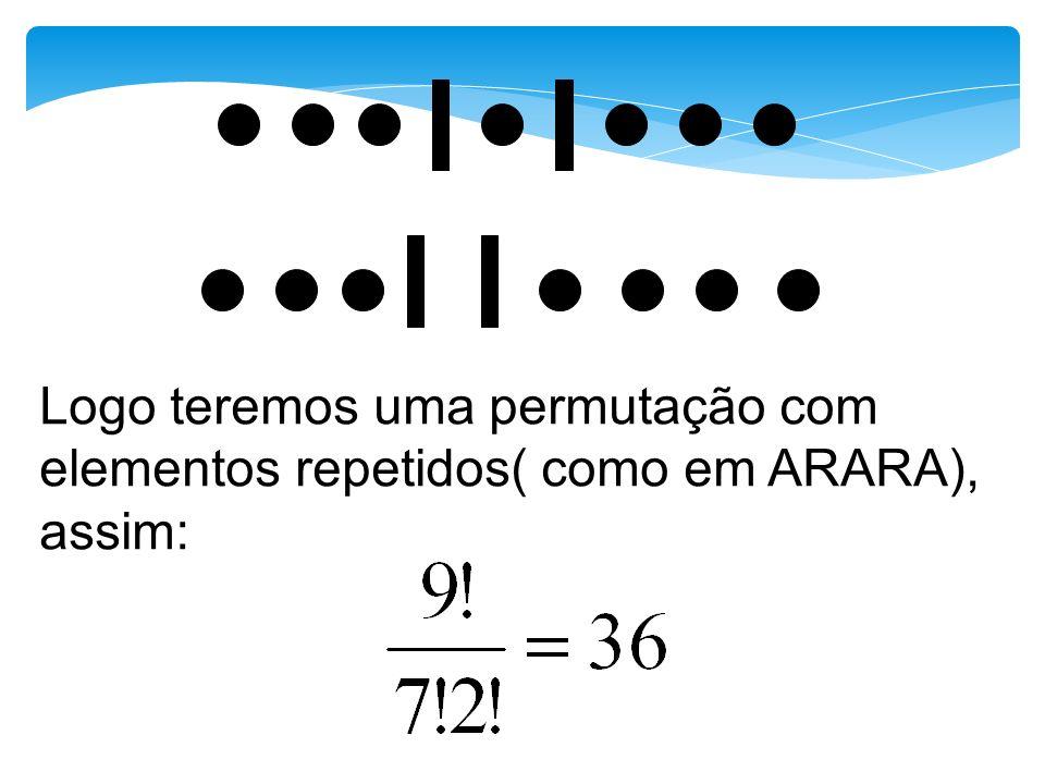 Logo teremos uma permutação com elementos repetidos( como em ARARA), assim: