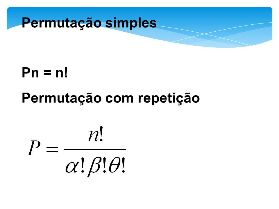 Permutação simples Pn = n! Permutação com repetição