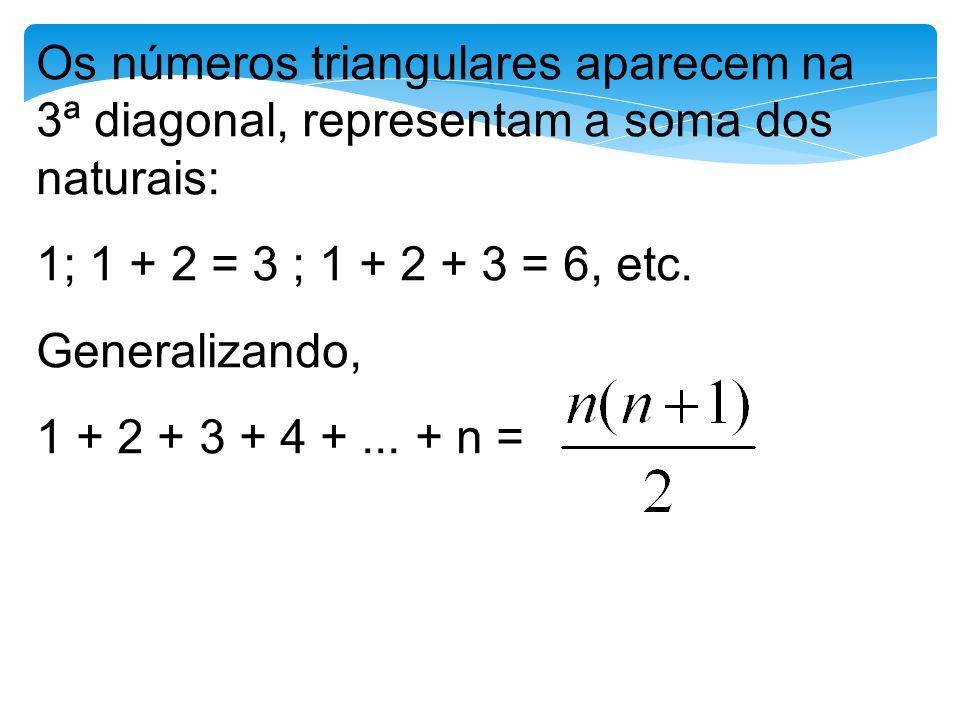 Os números triangulares aparecem na 3ª diagonal, representam a soma dos naturais: