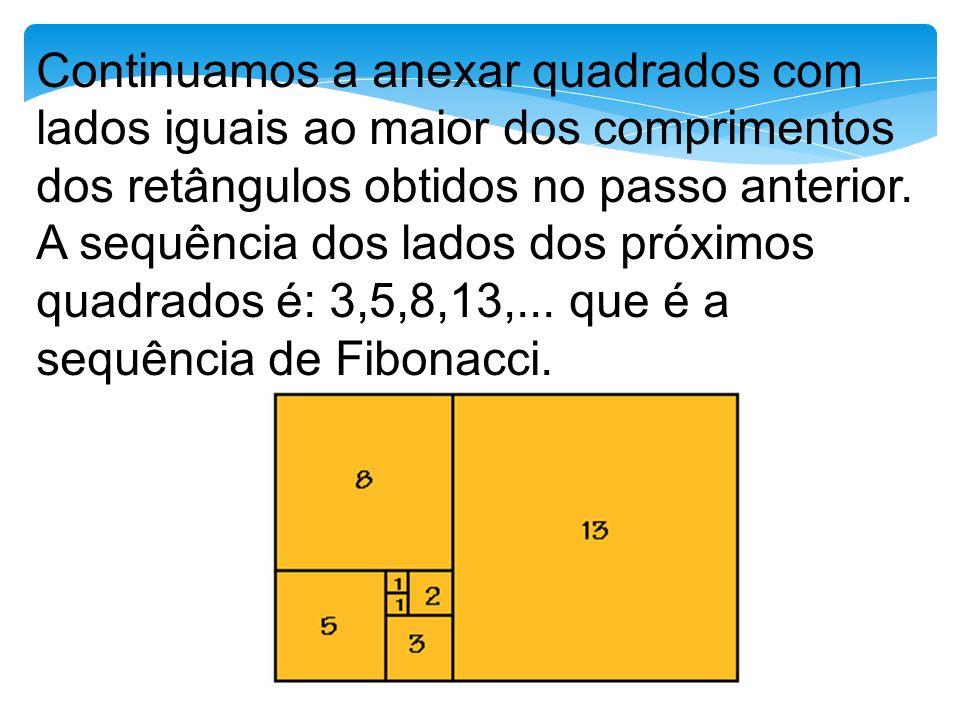 Continuamos a anexar quadrados com lados iguais ao maior dos comprimentos dos retângulos obtidos no passo anterior.