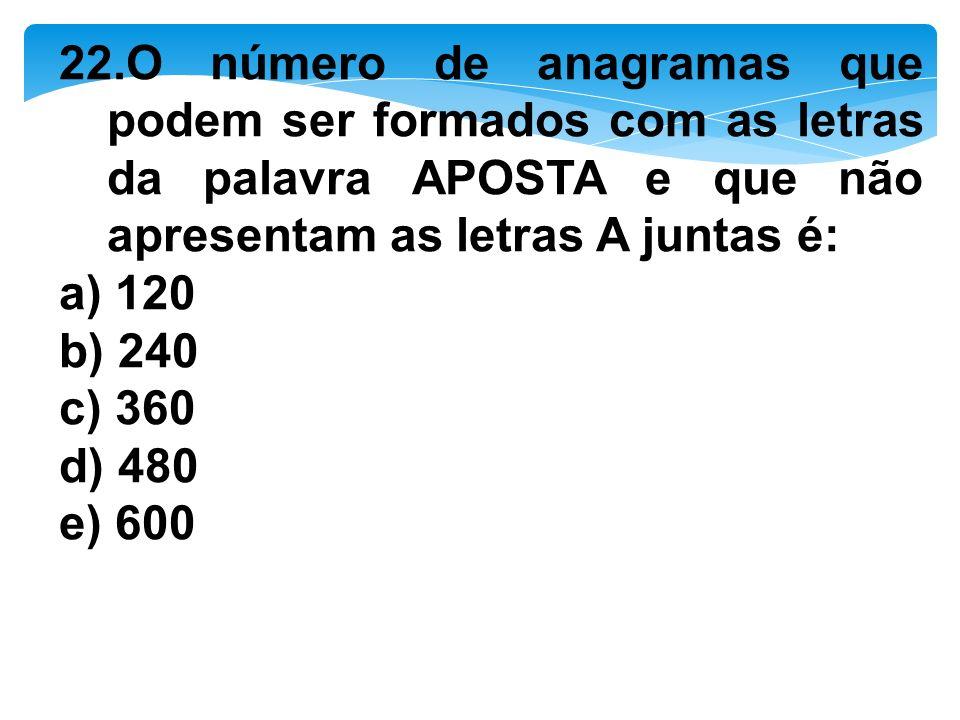 22.O número de anagramas que podem ser formados com as letras da palavra APOSTA e que não apresentam as letras A juntas é:
