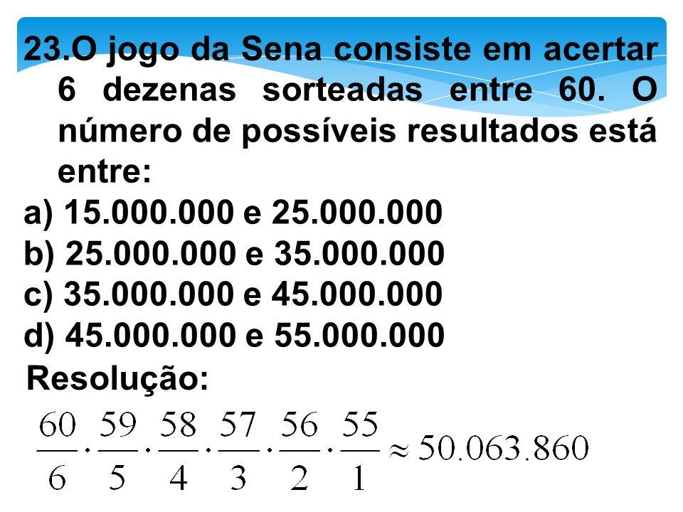 23. O jogo da Sena consiste em acertar 6 dezenas sorteadas entre 60