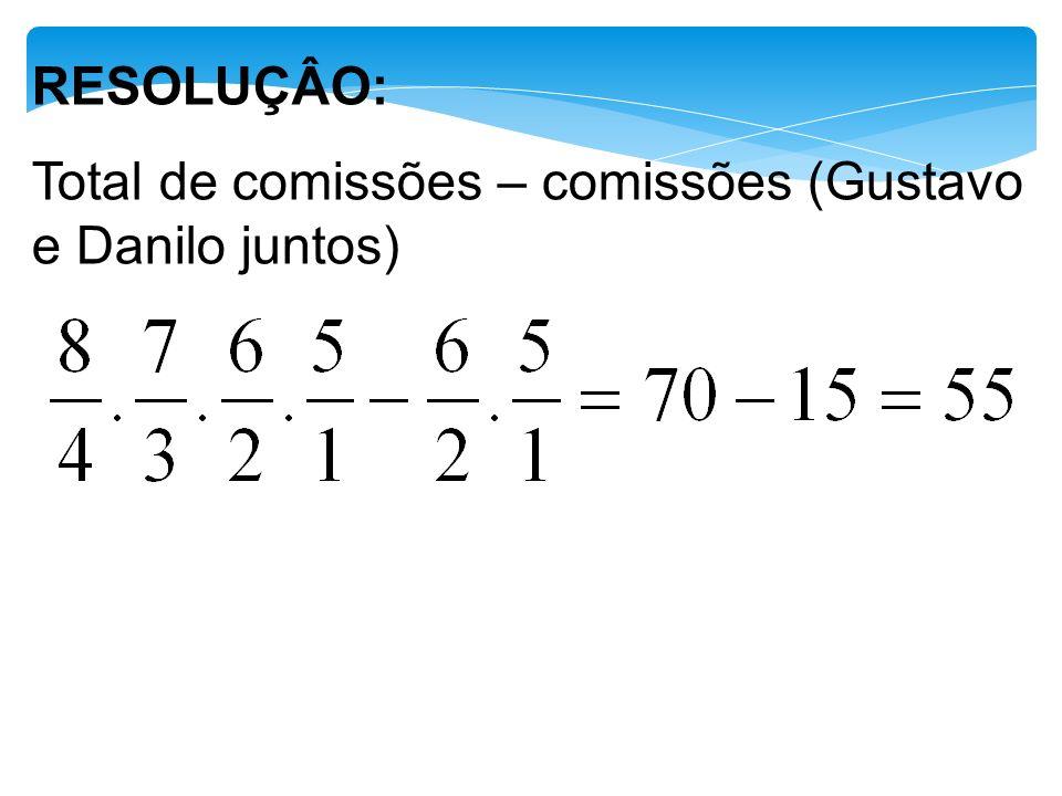 RESOLUÇÂO: Total de comissões – comissões (Gustavo e Danilo juntos)