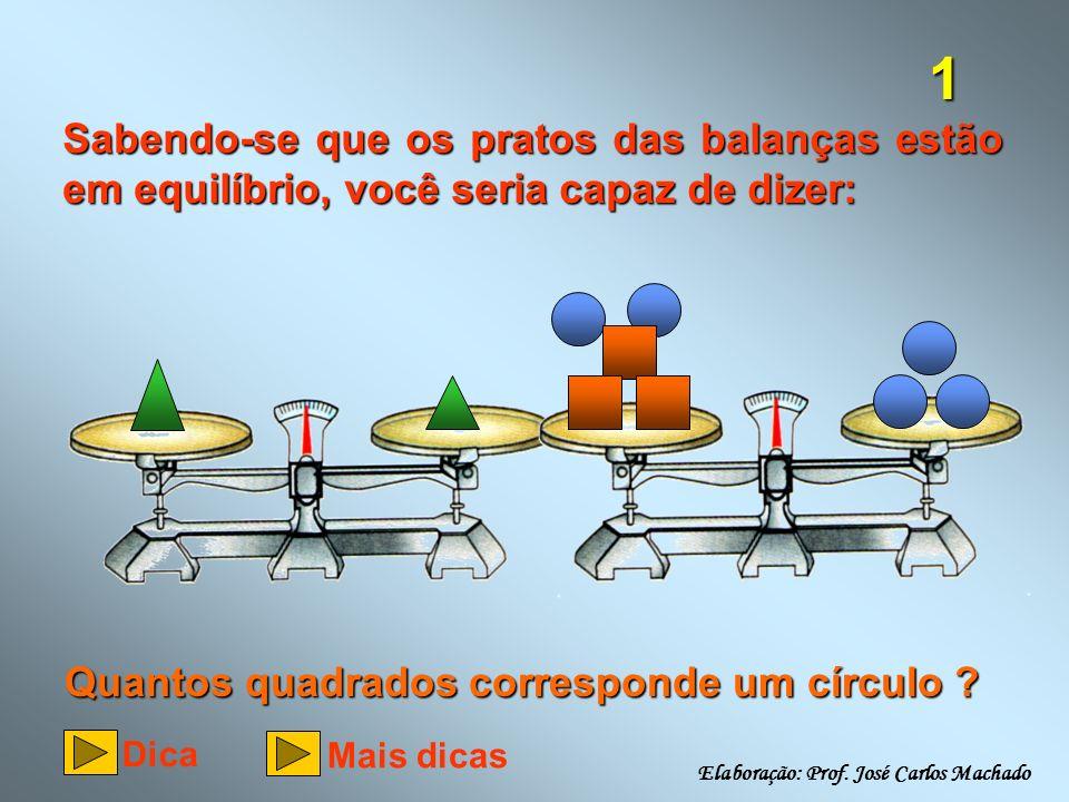 1 Sabendo-se que os pratos das balanças estão em equilíbrio, você seria capaz de dizer: Quantos quadrados corresponde um círculo