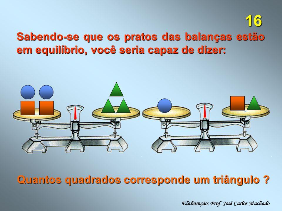 16 Sabendo-se que os pratos das balanças estão em equilíbrio, você seria capaz de dizer: Quantos quadrados corresponde um triângulo