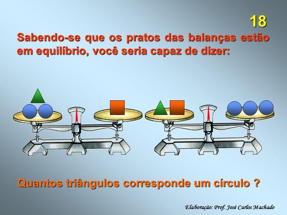 18 Sabendo-se que os pratos das balanças estão em equilíbrio, você seria capaz de dizer: Quantos triângulos corresponde um círculo