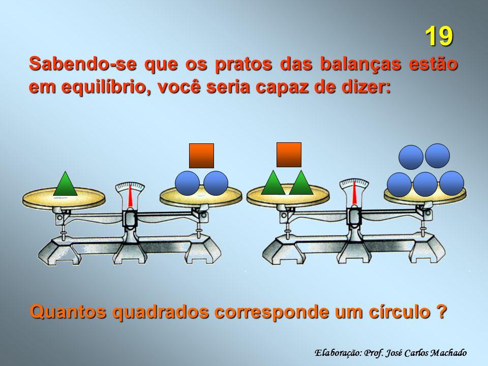 19 Sabendo-se que os pratos das balanças estão em equilíbrio, você seria capaz de dizer: Quantos quadrados corresponde um círculo