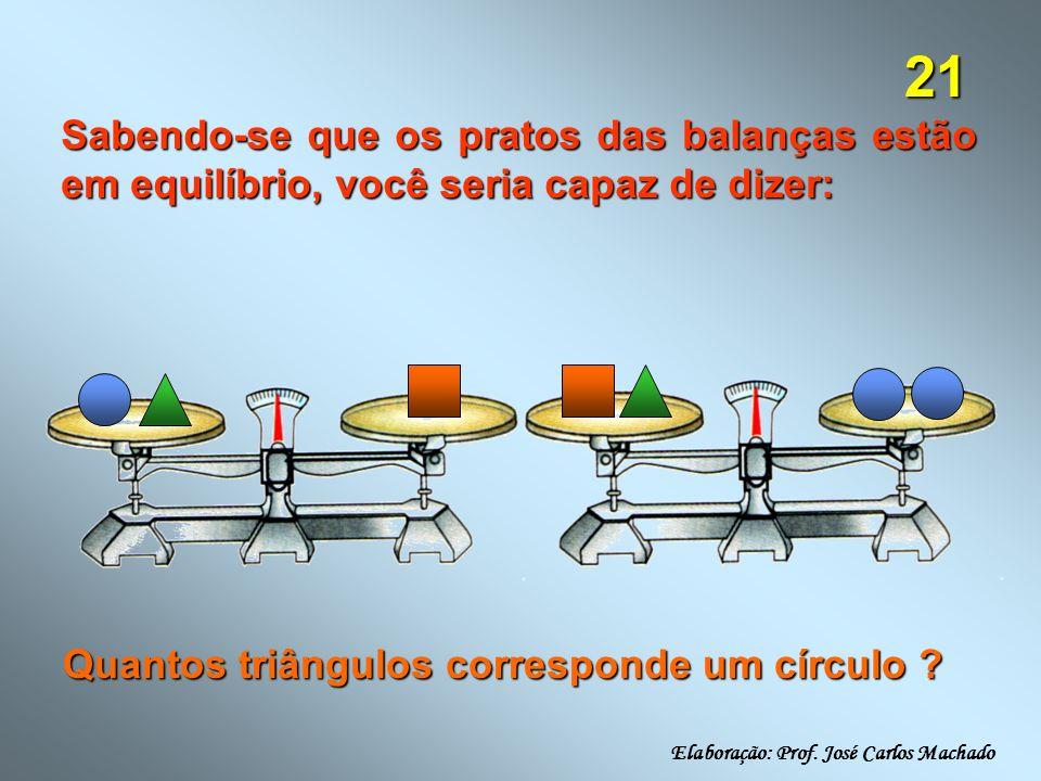 21 Sabendo-se que os pratos das balanças estão em equilíbrio, você seria capaz de dizer: Quantos triângulos corresponde um círculo