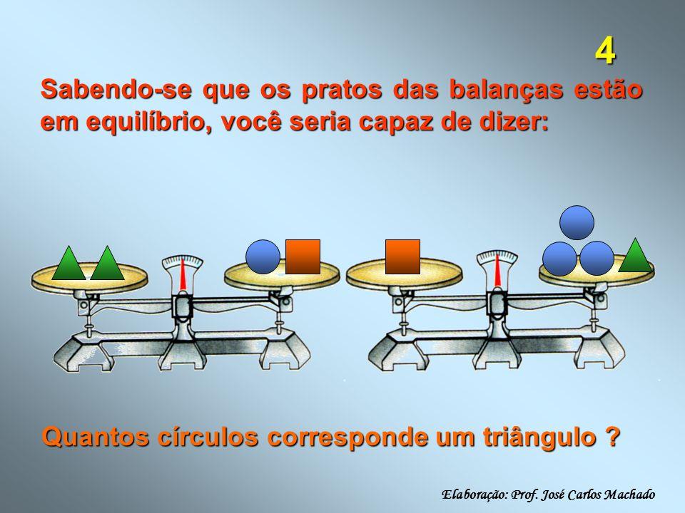 4 Sabendo-se que os pratos das balanças estão em equilíbrio, você seria capaz de dizer: Quantos círculos corresponde um triângulo