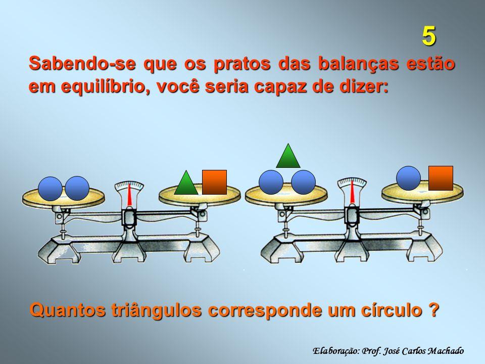 5 Sabendo-se que os pratos das balanças estão em equilíbrio, você seria capaz de dizer: Quantos triângulos corresponde um círculo